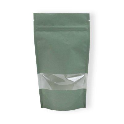 Lamizip papir m/lynlås og vindu Grønn